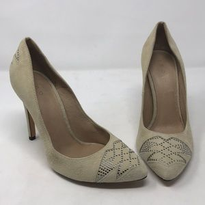 IRO Cream Suede Silver Studs Pumps Shoes Heels